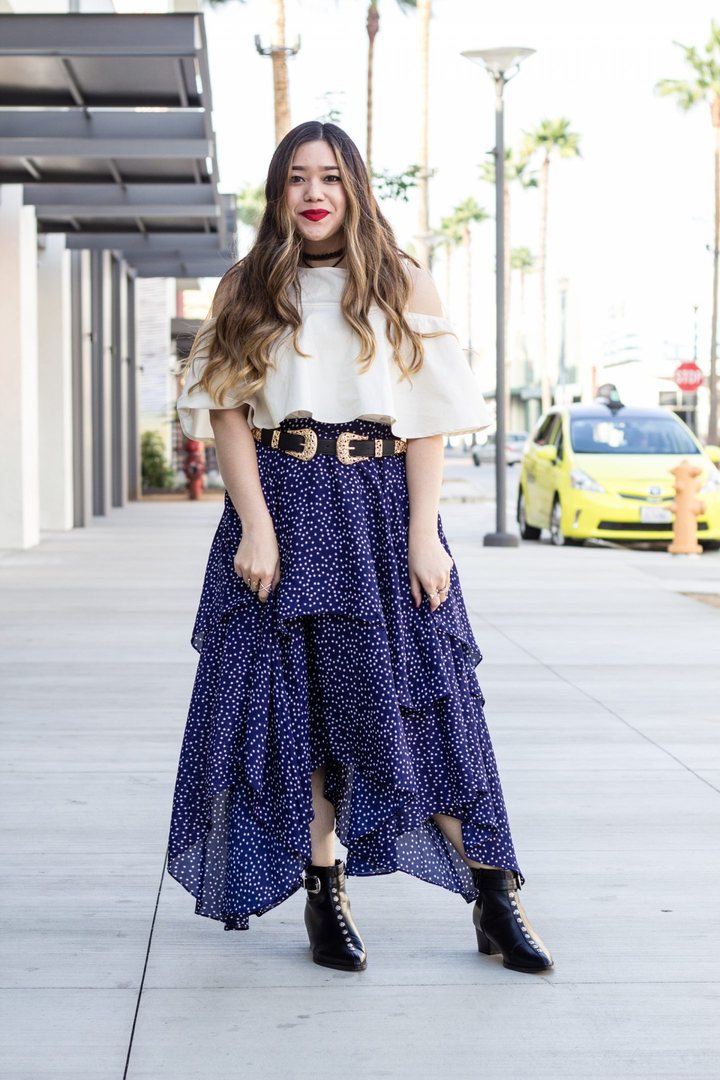 Star Print Layered Maxi Skirt + Buckle Ankle Boots