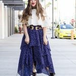 Star Print Layered Maxi Skirt Rose Stud Western Buckle Ankle Boots Double Buckle Western Belt