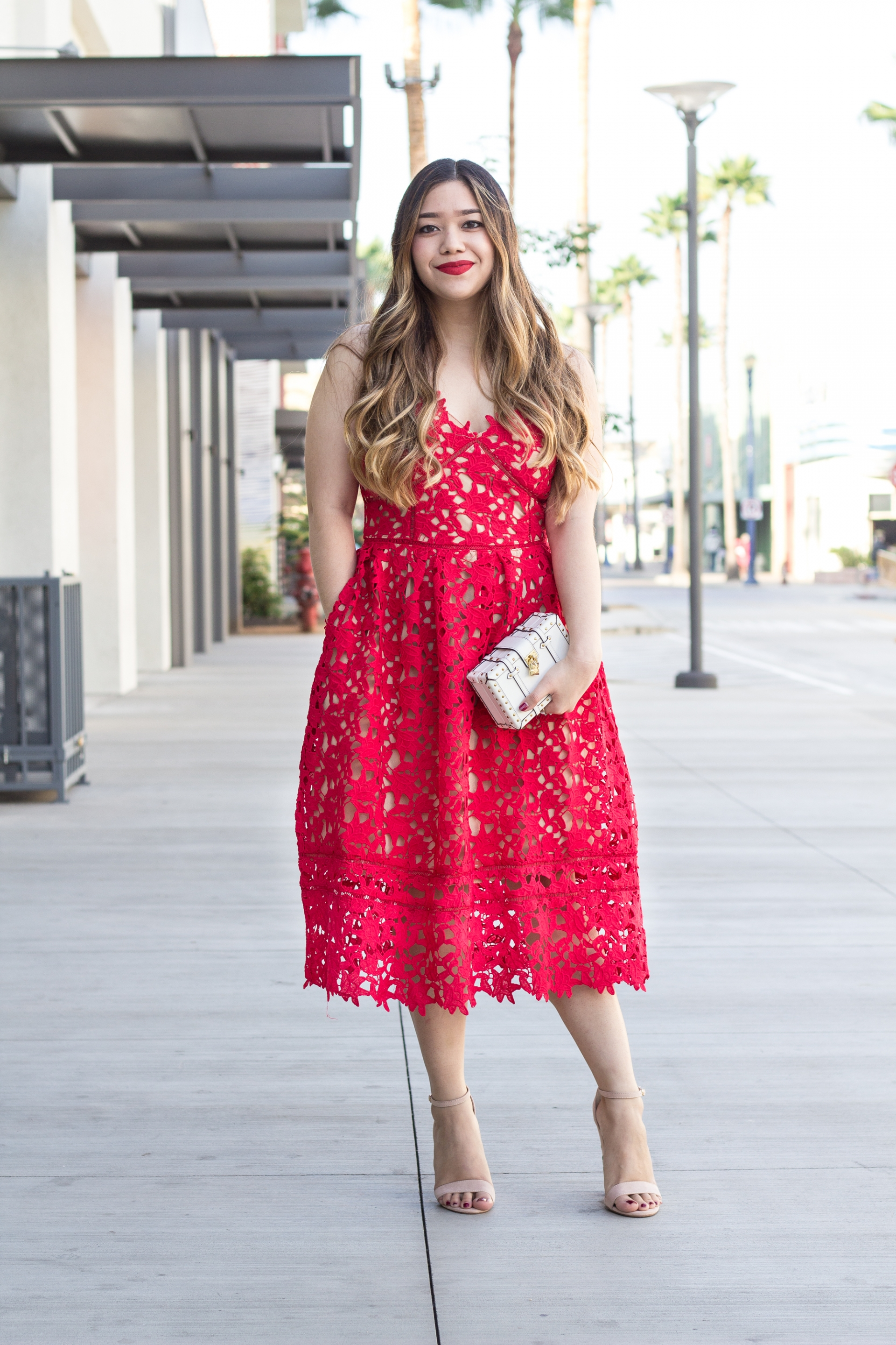 Valentine's Day Look Red Lace Dress Budget-Friendly Self Portrait Azalea Inspired Dress