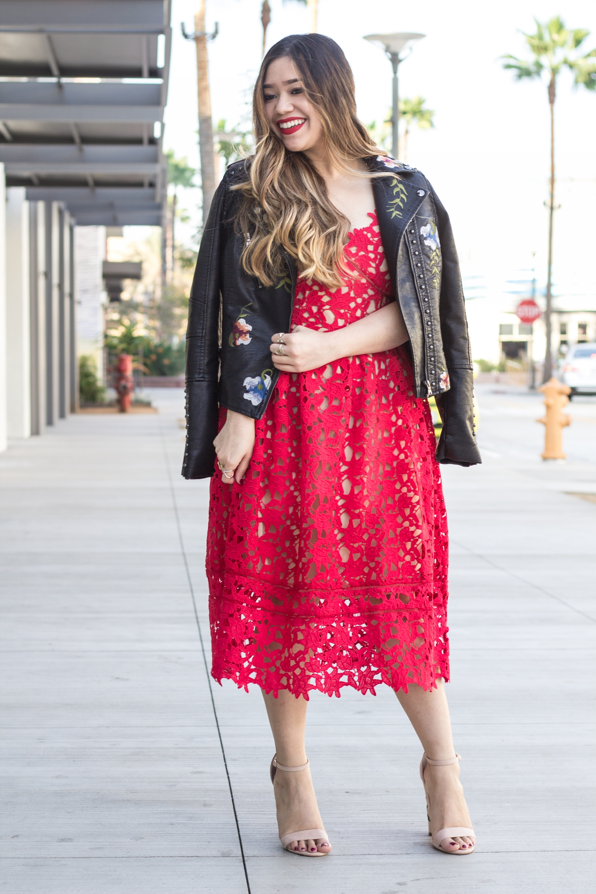 Valentine's Day Look Red Lace Dress Budget-Friendly Self Portrait Azalea Inspired Dress Blank NYC Studded Embroidered Floral Moto Jacket Faux Leather Jacket