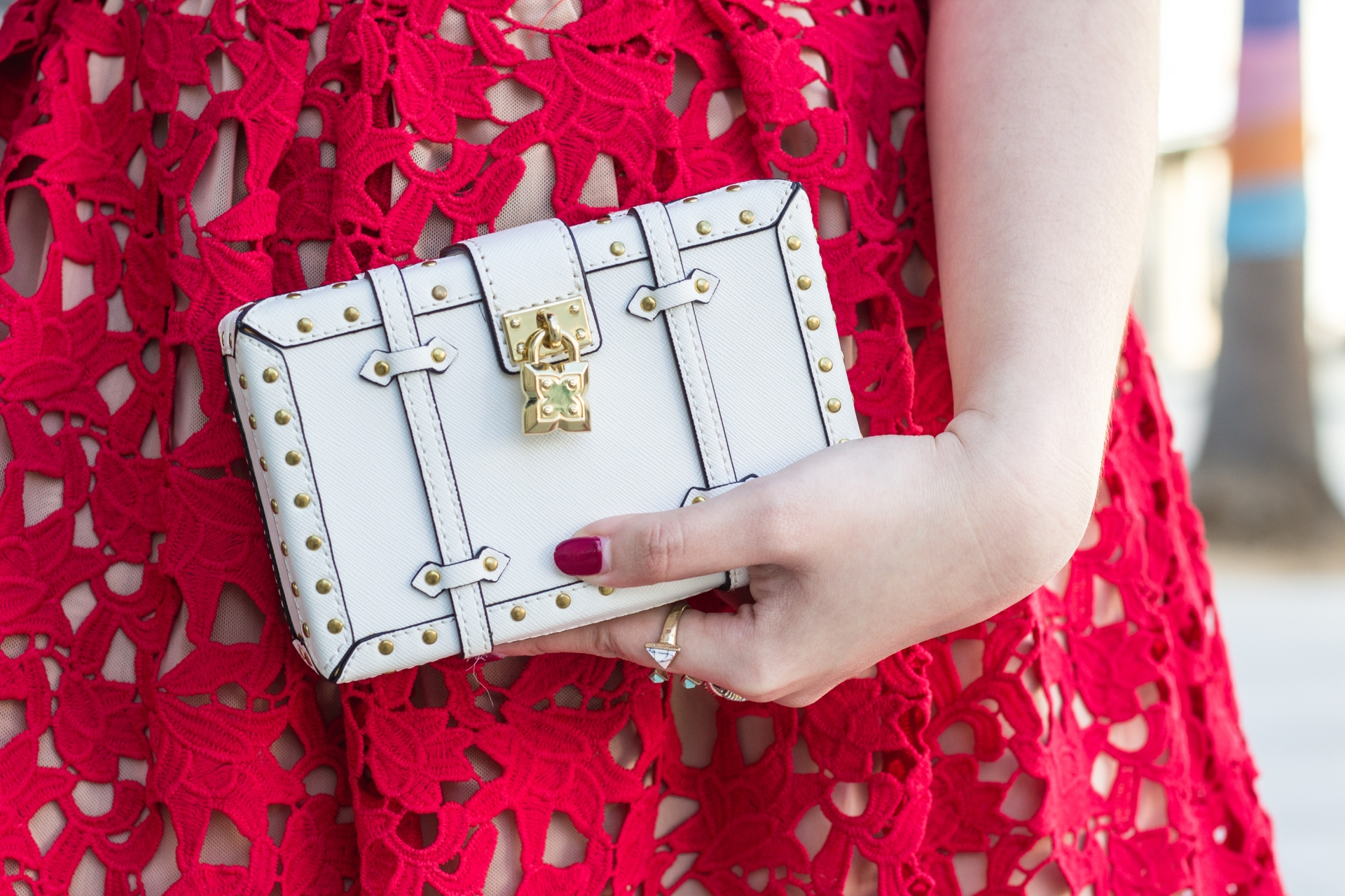 Valentine's Day Look Red Lace Dress Budget-Friendly Self Portrait Azalea Inspired Dress White Studded Box Clutch BCBG Maxazria