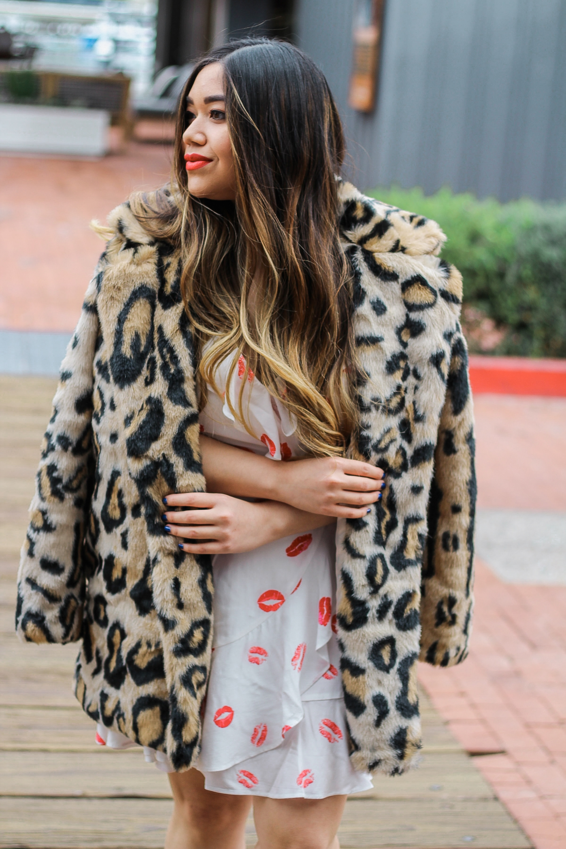 NAKD Shopbop Leopard Faux Fur Coat Forever 21 Lip Print Wrap Dress Cult Gaia Dupe Bamboo Ark Bag