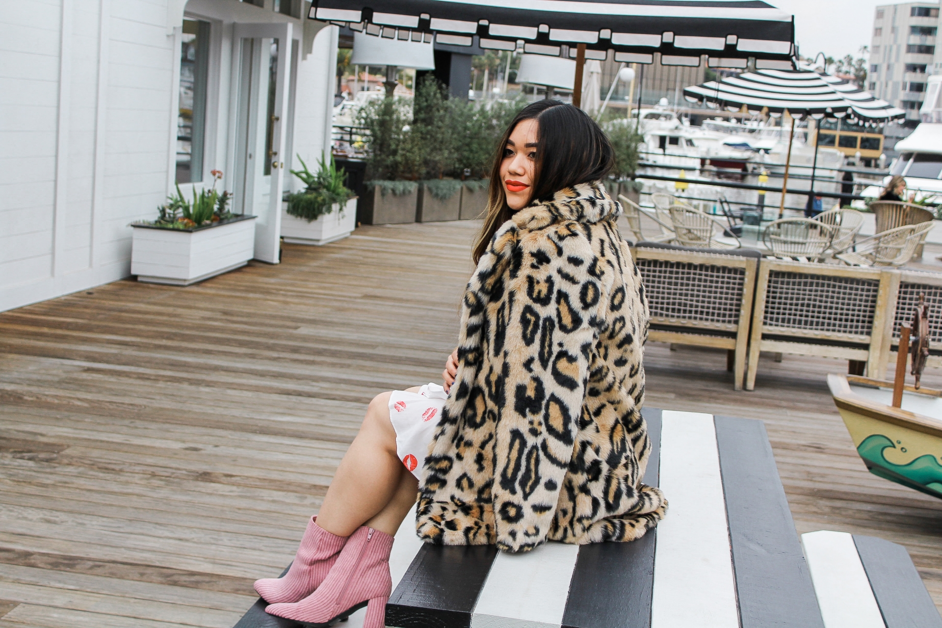 NAKD Shopbop Leopard Faux Fur Coat Forever 21 Lip Print Wrap Dress Cult Gaia Dupe Bamboo Ark Bag Baby Pink Booties