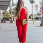 Statement Bow Front Jumpsuit ASOS Boohoo Strapless Bandeau Half Moon Clutch Sam Edelman Yaro Ankle Strap Sandal