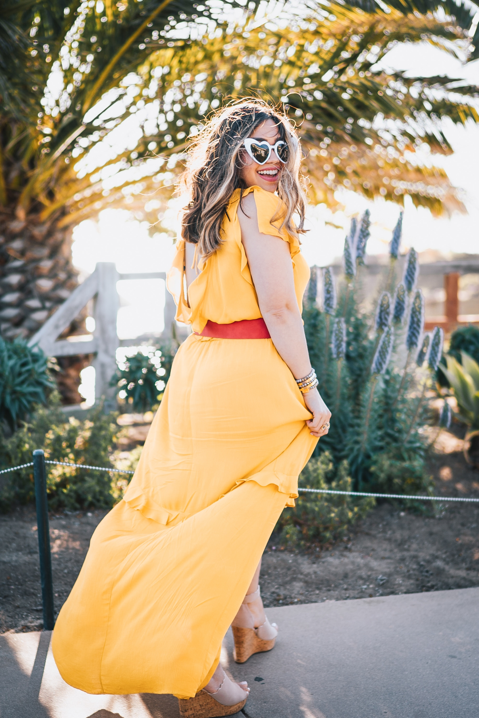 Express Your Rules Mustard Yellow Flutter Sleeve Ruffle Front Cut-out Maxi Dress Red Covered Rectangle Buckle Belt Marc Fisher Espadrilles Wedges Heart Shape Saint Laurent Dupe Sunglasses