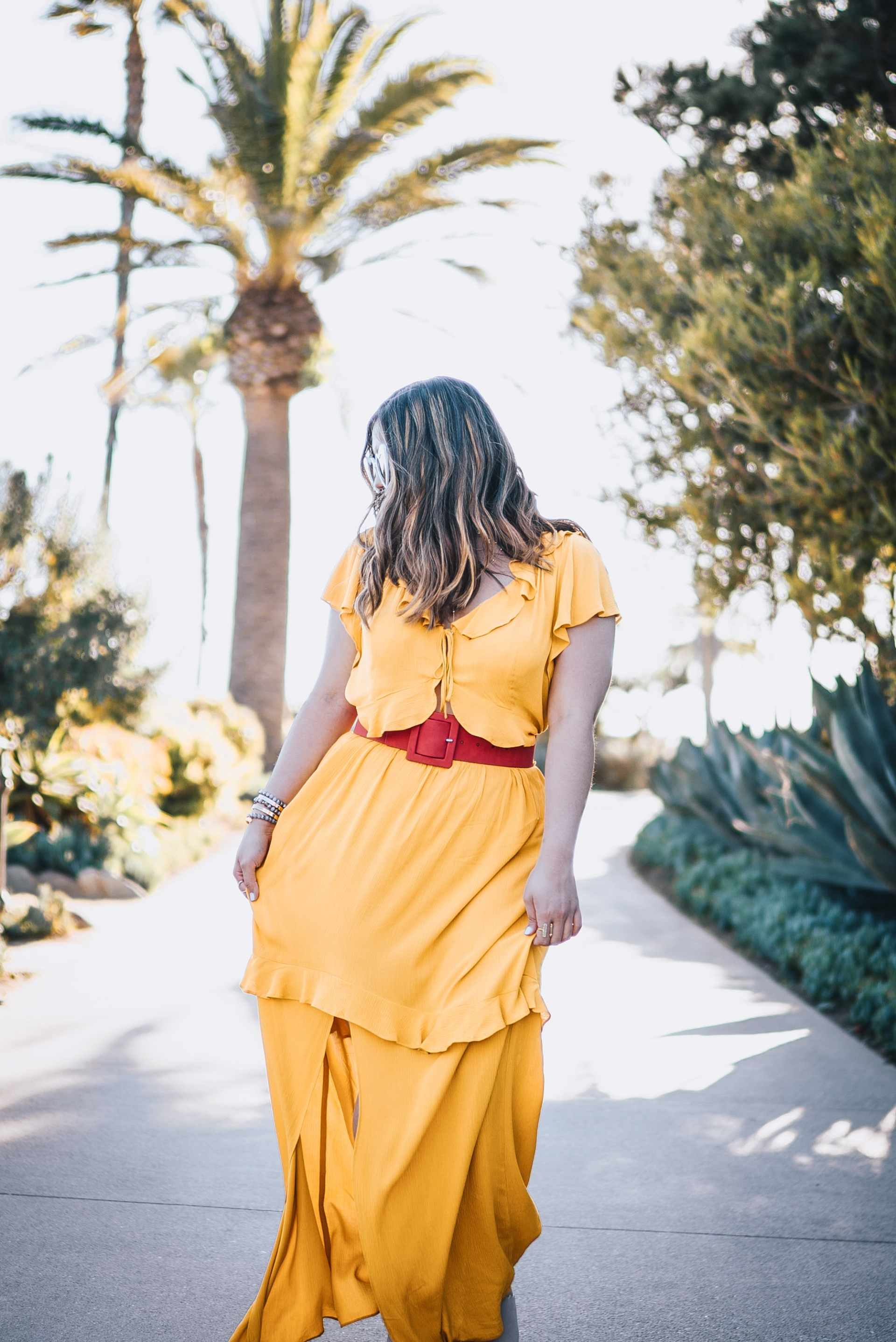 Express Your Rules Mustard Yellow Flutter Sleeve Ruffle Front Cut-out Maxi Dress Red Covered Rectangle Buckle Belt