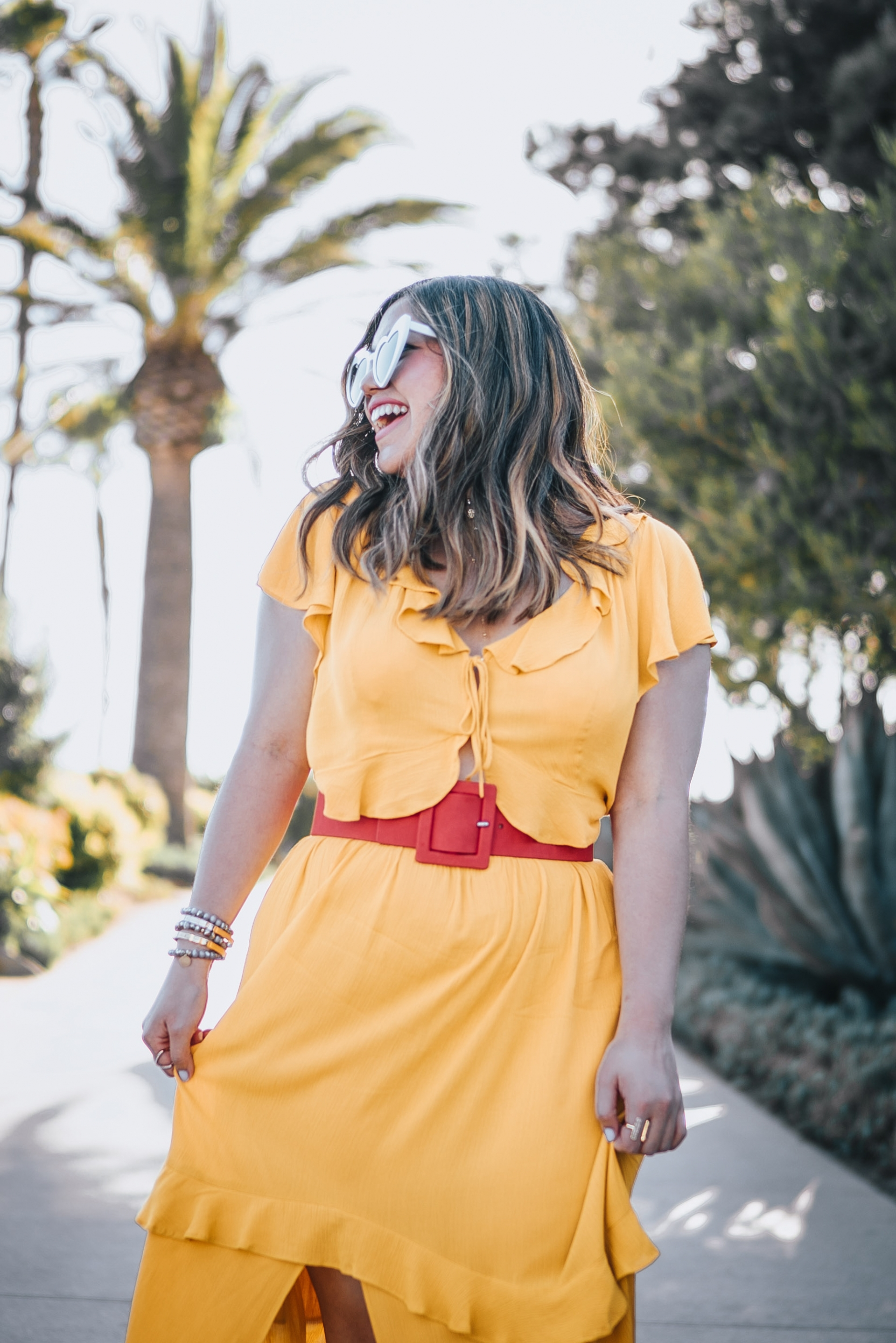 Express Your Rules Mustard Yellow Flutter Sleeve Ruffle Front Cut-out Maxi Dress Red Covered Rectangle Buckle Belt Heart Shape Saint Laurent Dupe Sunglasses