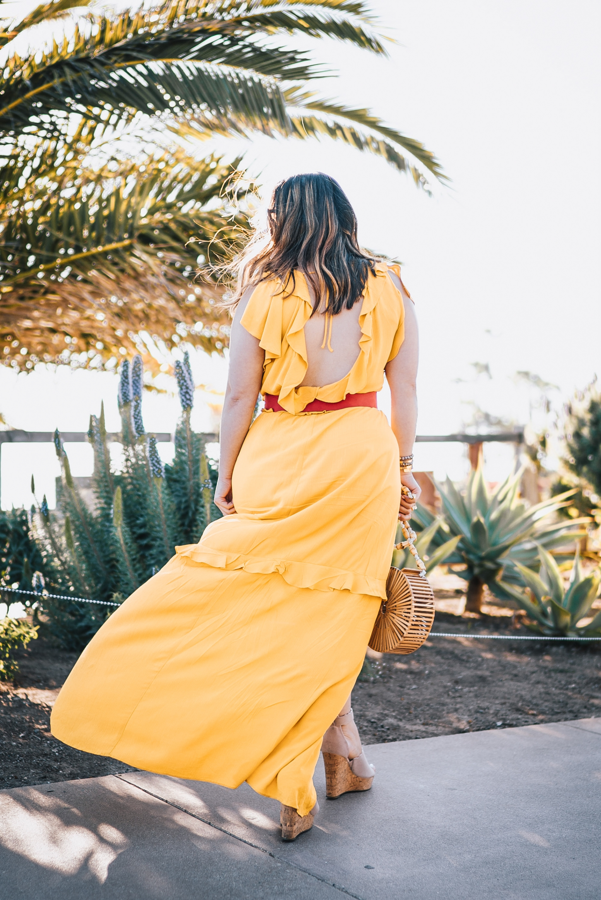 Express Your Rules Mustard Yellow Flutter Sleeve Ruffle Front Cut-out Maxi Dress Red Covered Rectangle Buckle Belt Marc Fisher Espadrilles Wedges