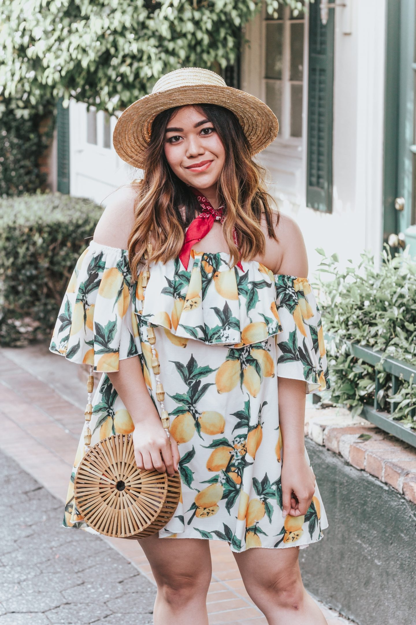 Under $50 Lemon Print Dress + Round Bamboo Bag