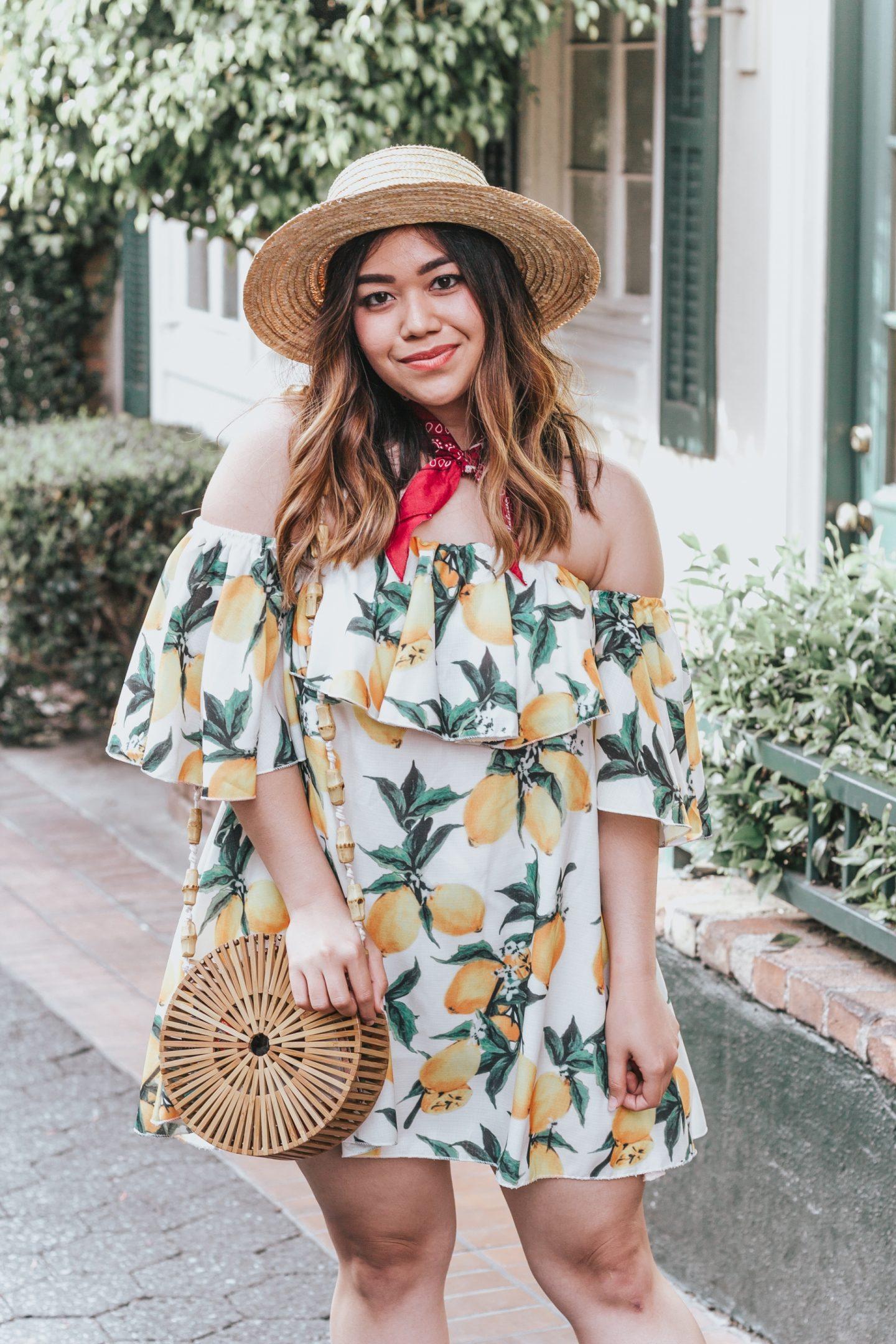 Under $50 Lemon Print Dress + Round Bamboo Bag