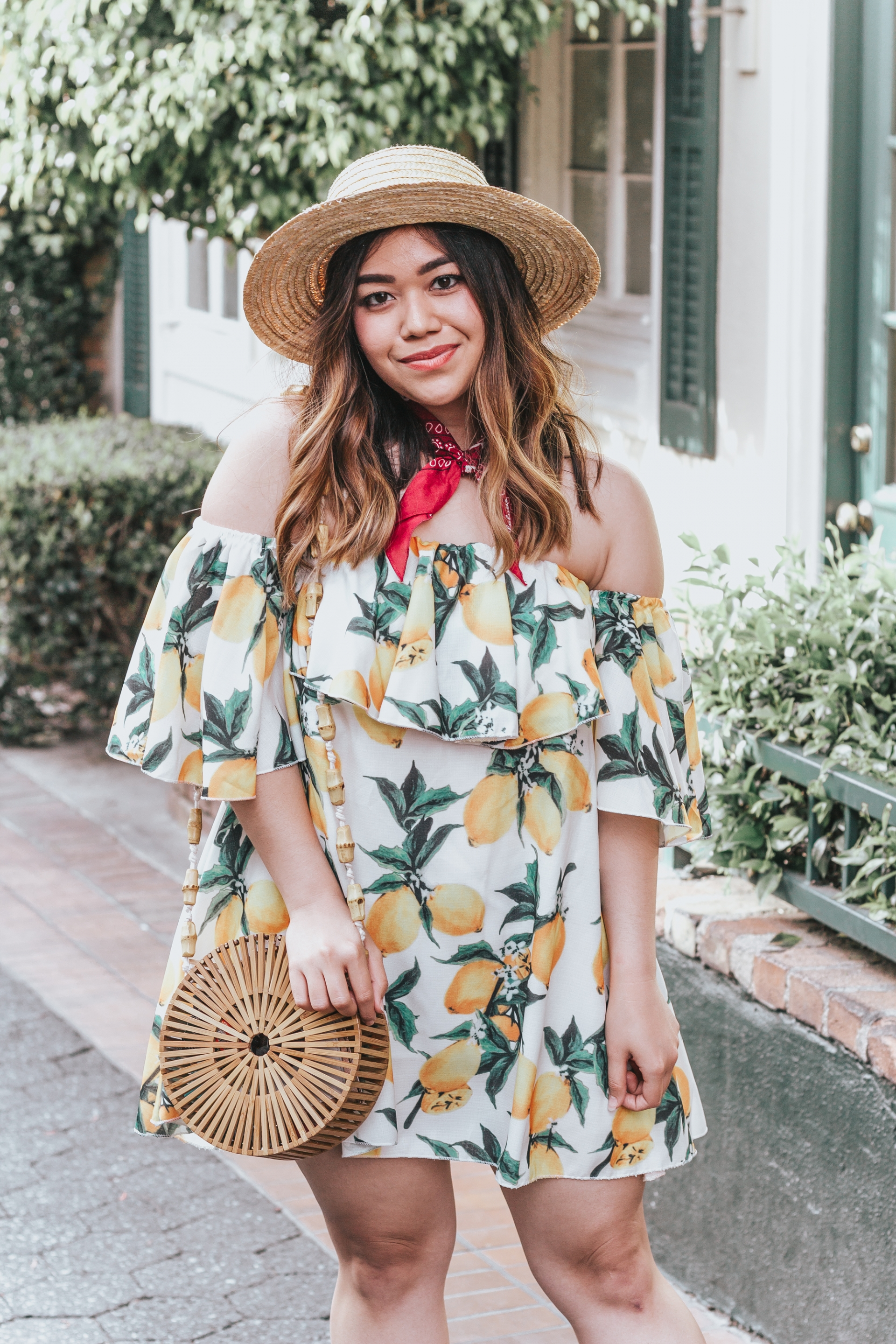 Zaful Off The Shoulder Lemon Print Dress Cult Gaia Luna Dupe Bag Bamboo Round Bag Pink Straw Hat Personalized Red Bandana