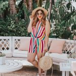 Multi Colorful Rainbow Stripe Romper Tyche Los Angeles Red Dress Boutique Infinite Fun Orange Multi Stripe Romper Rocket Dog Zuma White Platform Sandals Lack of Color Pink Velour Straw Hat Round Circle Straw Crossbody Bag Diffeyewear Daisy Sunglasses The Beverly Hills Hotel