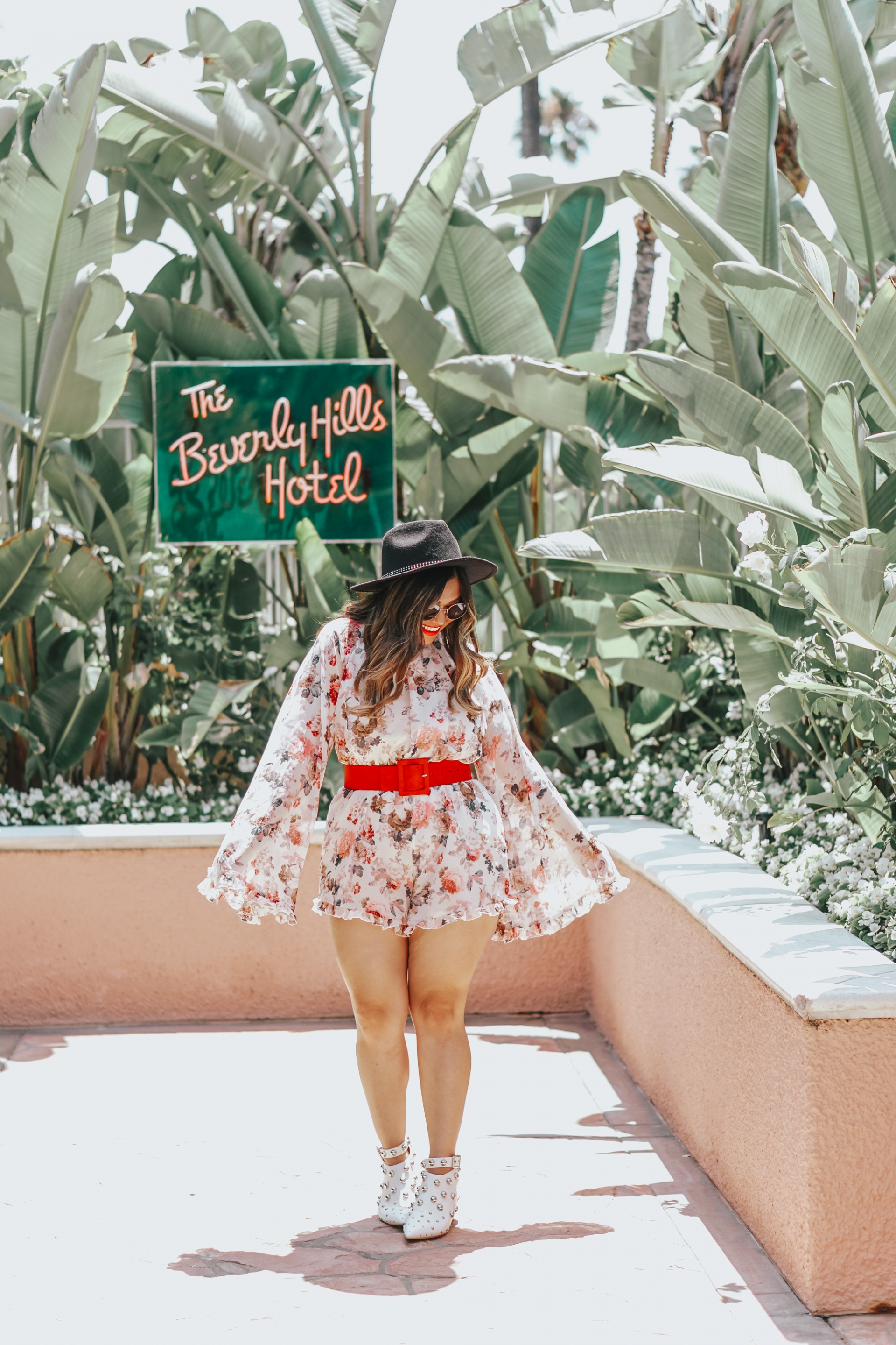 Dramatic Sleeves Floral Romper Shein Exaggerated Bell Sleeve Frill Detail Romper Qupid Shoes Square-01 White Studded Mule Sandal Booties Black Fedora Hat Express Red Rectangle Buckle Belt