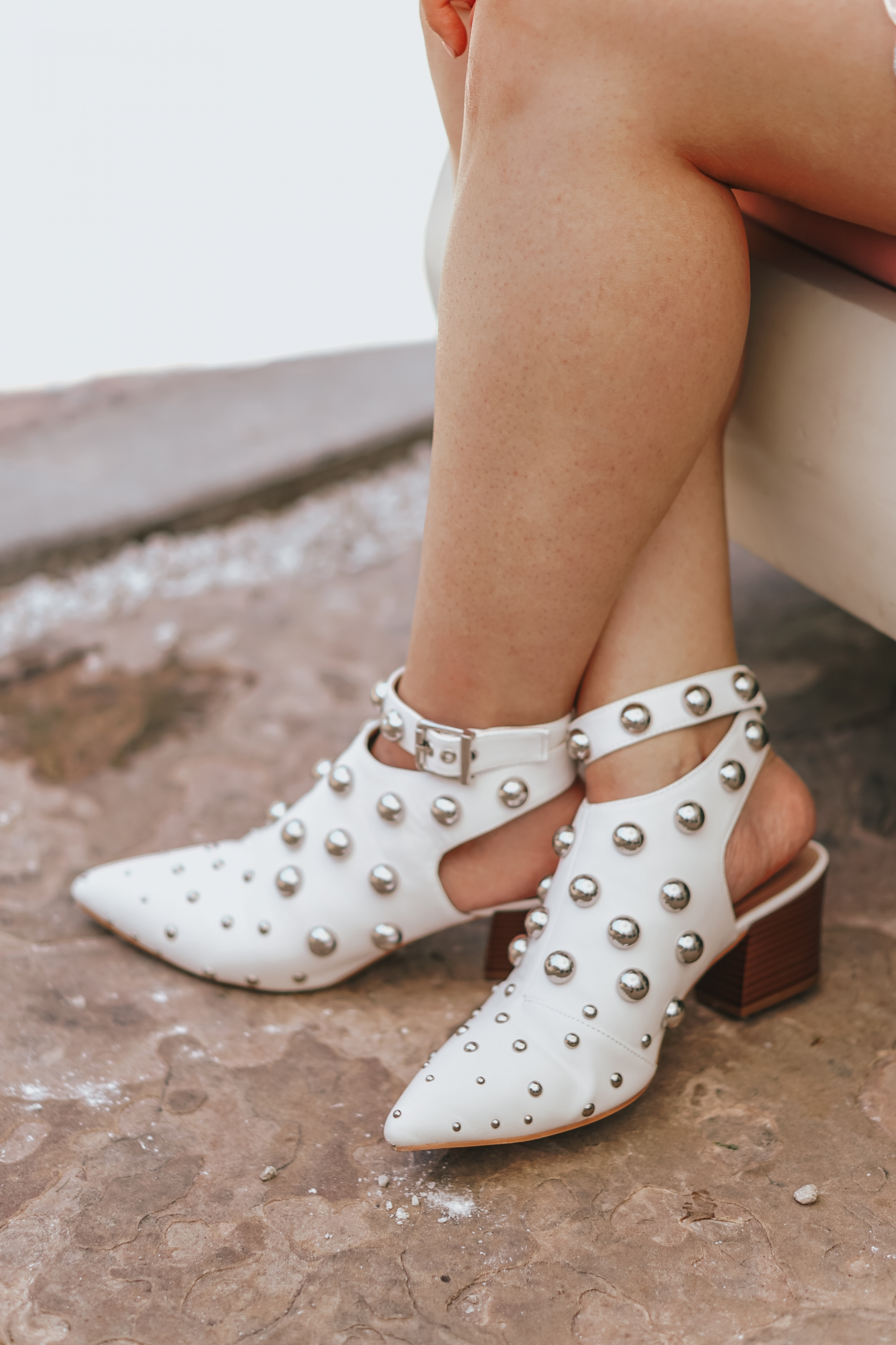 Qupid Shoes Square-01 White Studded Mule Sandal Booties