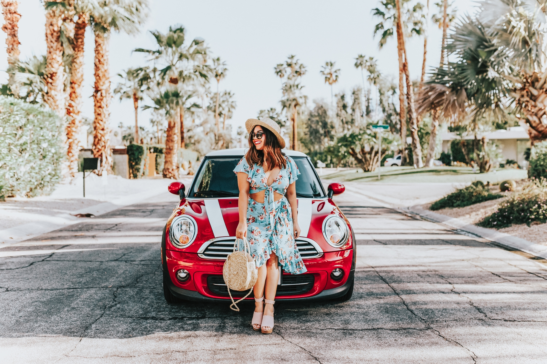 floral tie front crop top and matching wrap skirt set Shein Knot Floral Top & Asymmetrical Ruffle Hem Skirt Set Red Mini Cooper Palm Springs Marc Fisher Scallop Espadrilles Round Circle Straw Bag