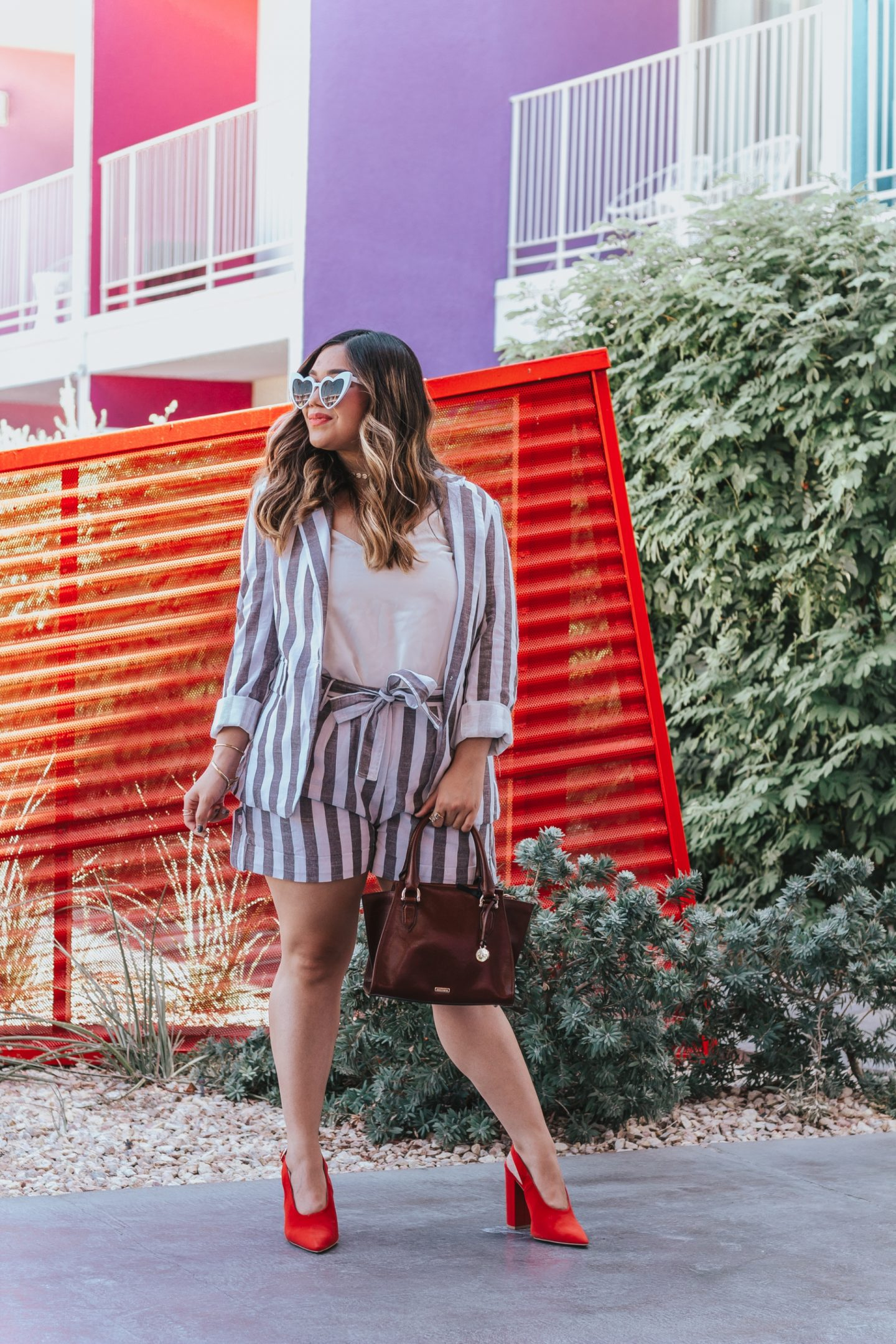 Striped Blazer and Belted Shorts Suit Set