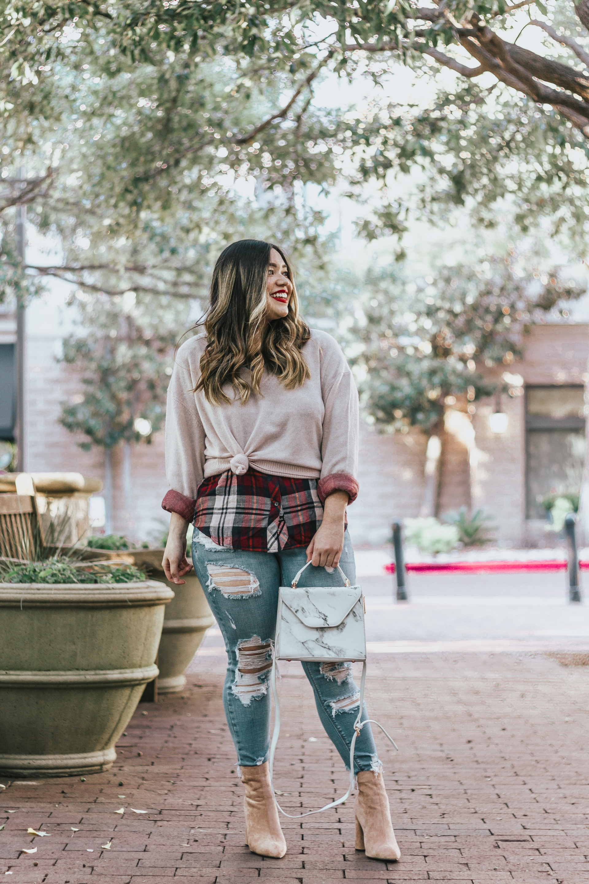 Stitch Fix Fall Outfit Wardrobe Rails Kendra Button Down Top 360 Cashmere Lois Cashmere V Neck Sweater Plaid Flannel Shirt Sweater Combo Distressed Jeans Express Nude Booties Marble Purse Bag