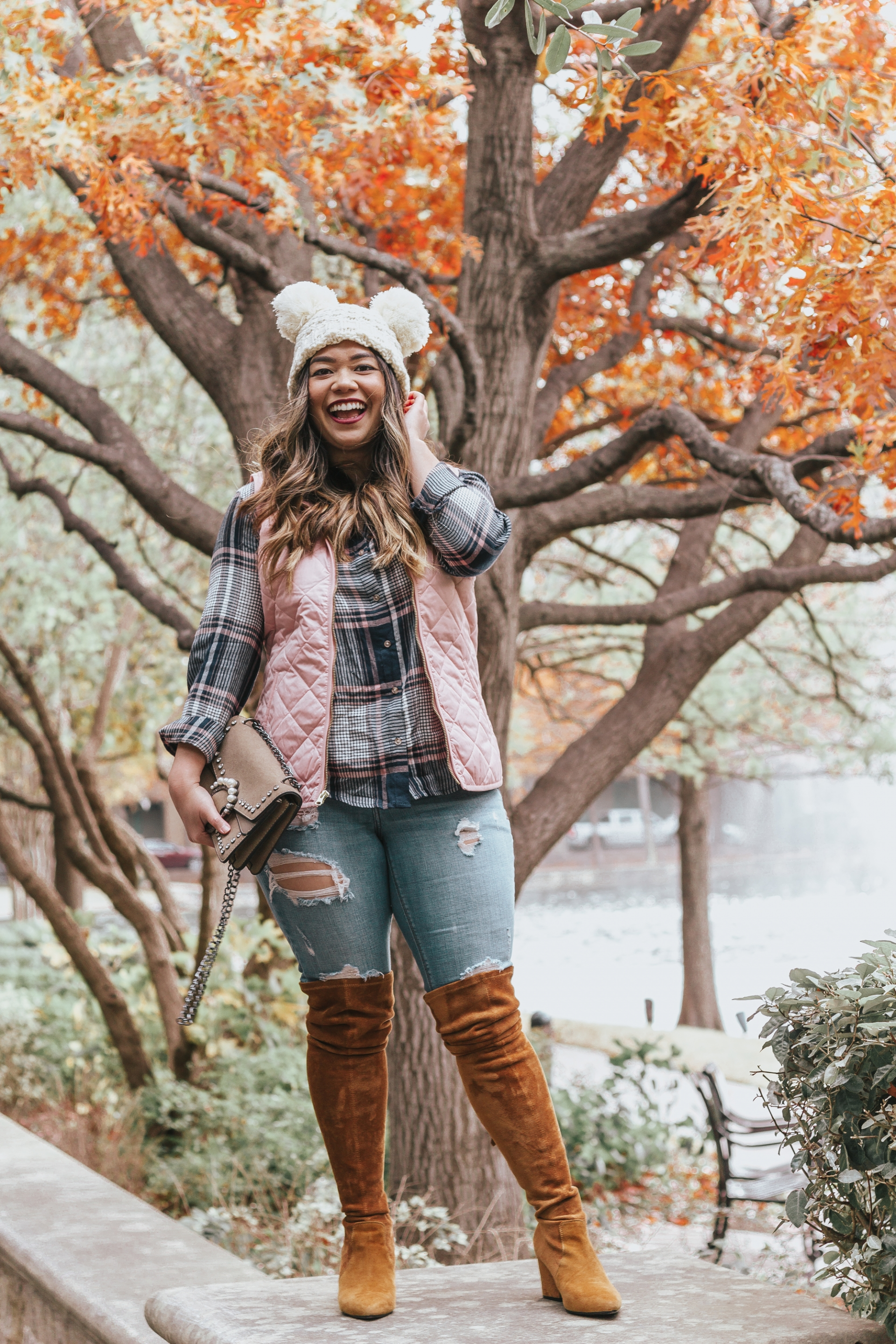 Old Navy Lightweight Quilted Vest Forever 21 Plaid High-Low Shirt Express Performance Stretch Distressed Denim Ankle Legging Goodnight Macaroon Marlo Tan Over The Knee Suede Leather Boots Shein Faux Pearl Decor Chain Bag Amazon Fashion Cable Knit Pom Pom Beanie