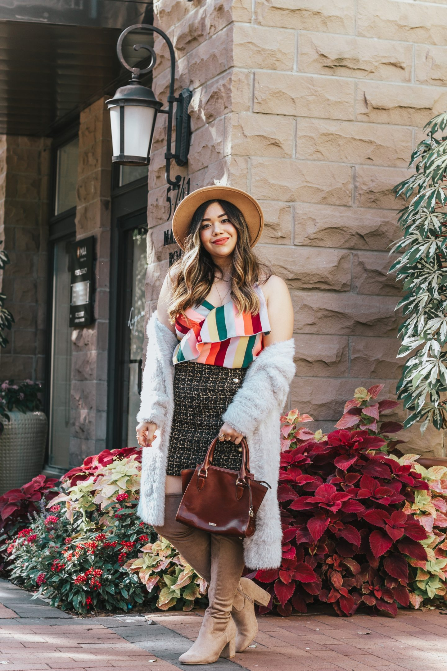 Coziest Faux Fur Cardigan + Rainbow Stripe Cami