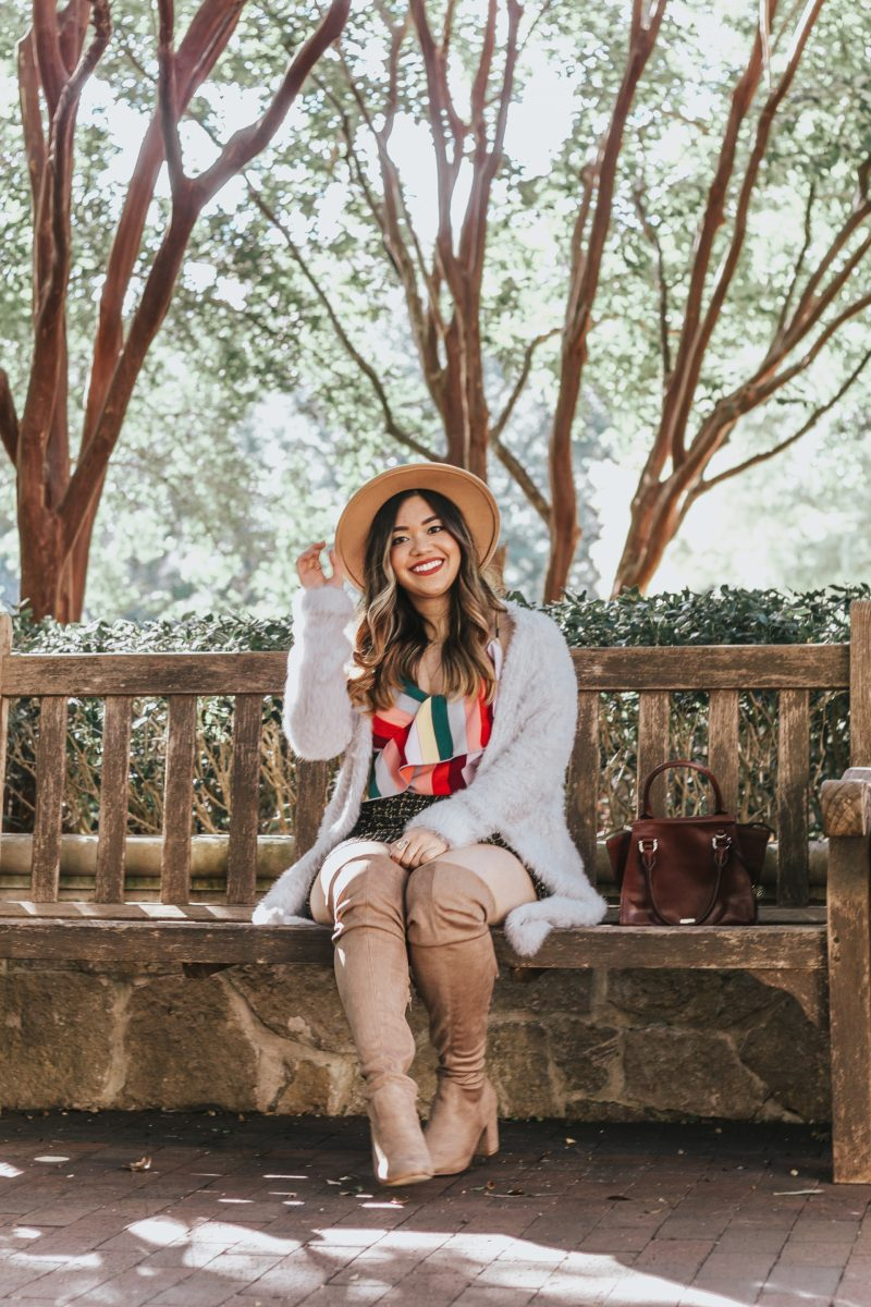 The Coziest Faux Fur Cardigan for Winter Free People Faux Fur Cardigan Revolve Tweed Skirt Button Up DSW Over The Knee Boots Nordstrom Urban Outfitters Fedora Hat Panama Hat Red Dress Boutique Rainbow Stripe Top Cami Brahmin Mini Priscilla Topsail Winter Outfit Winter Look Fall Outfit Fall Look