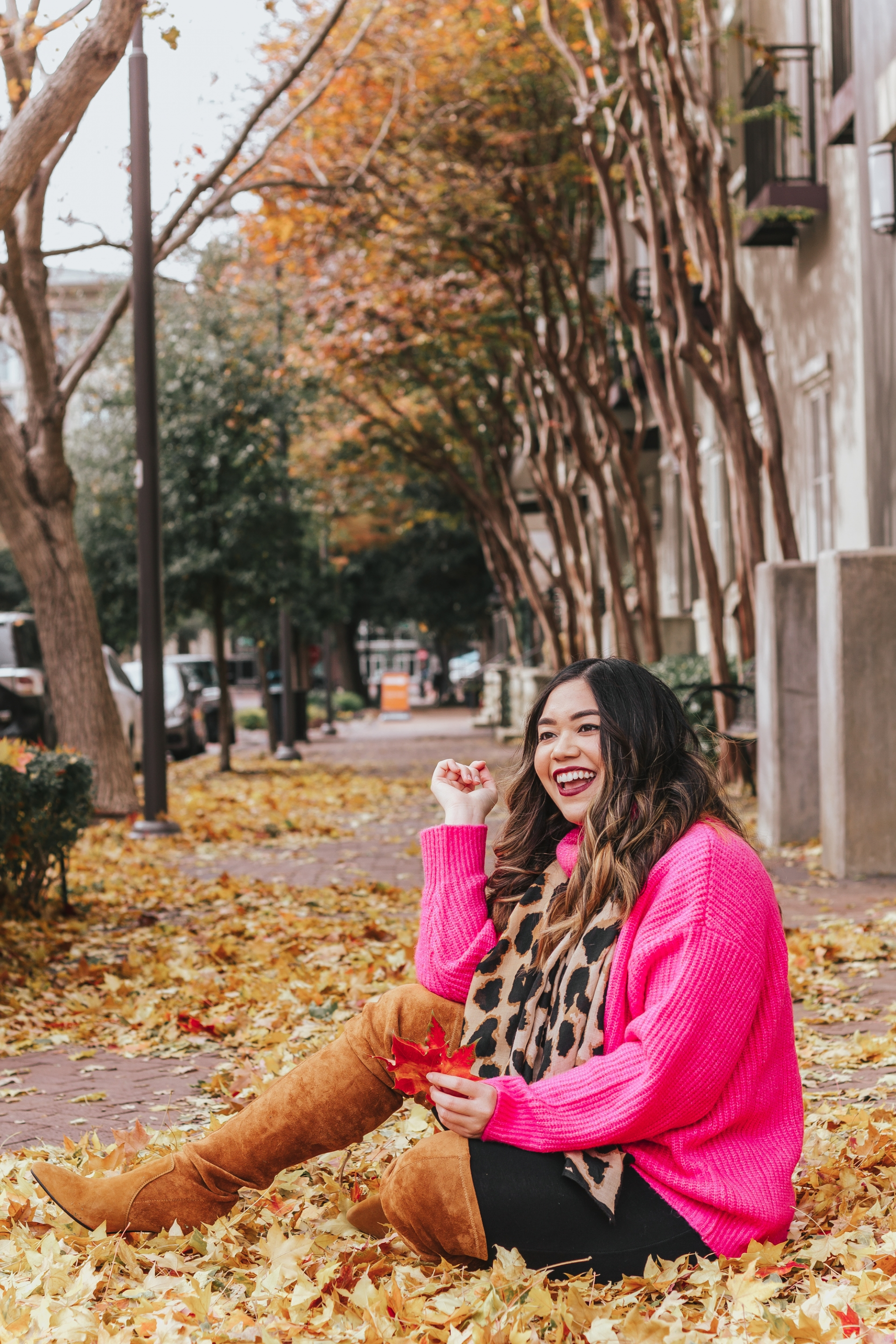 Goodnight Macaroon Ali Oversized Turtleneck Sweater Marlo Tan Over The Knee Suede Leather Boots Nordstrom BP Leopard Print Scarf Express Supersoft Ankle Leggings Shein Faux Pearl Decor Chain Bag How to Style Hot Pink and Leopard Without Looking Tacky But Chic Fall Leaves Fall Foliage Fall Outfit Ideas