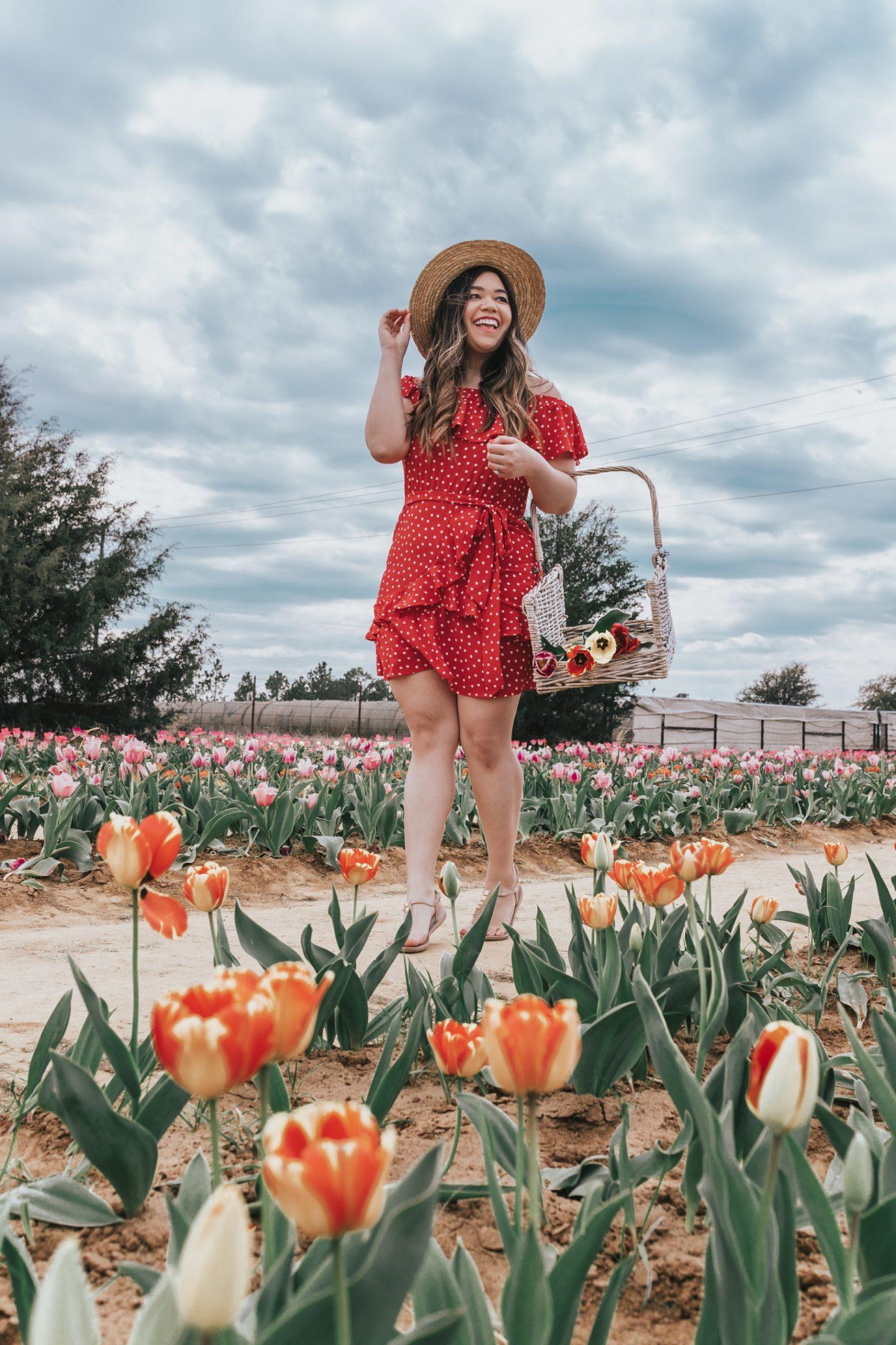 Red Polka Dot Wrap Dress for Texas Tulips