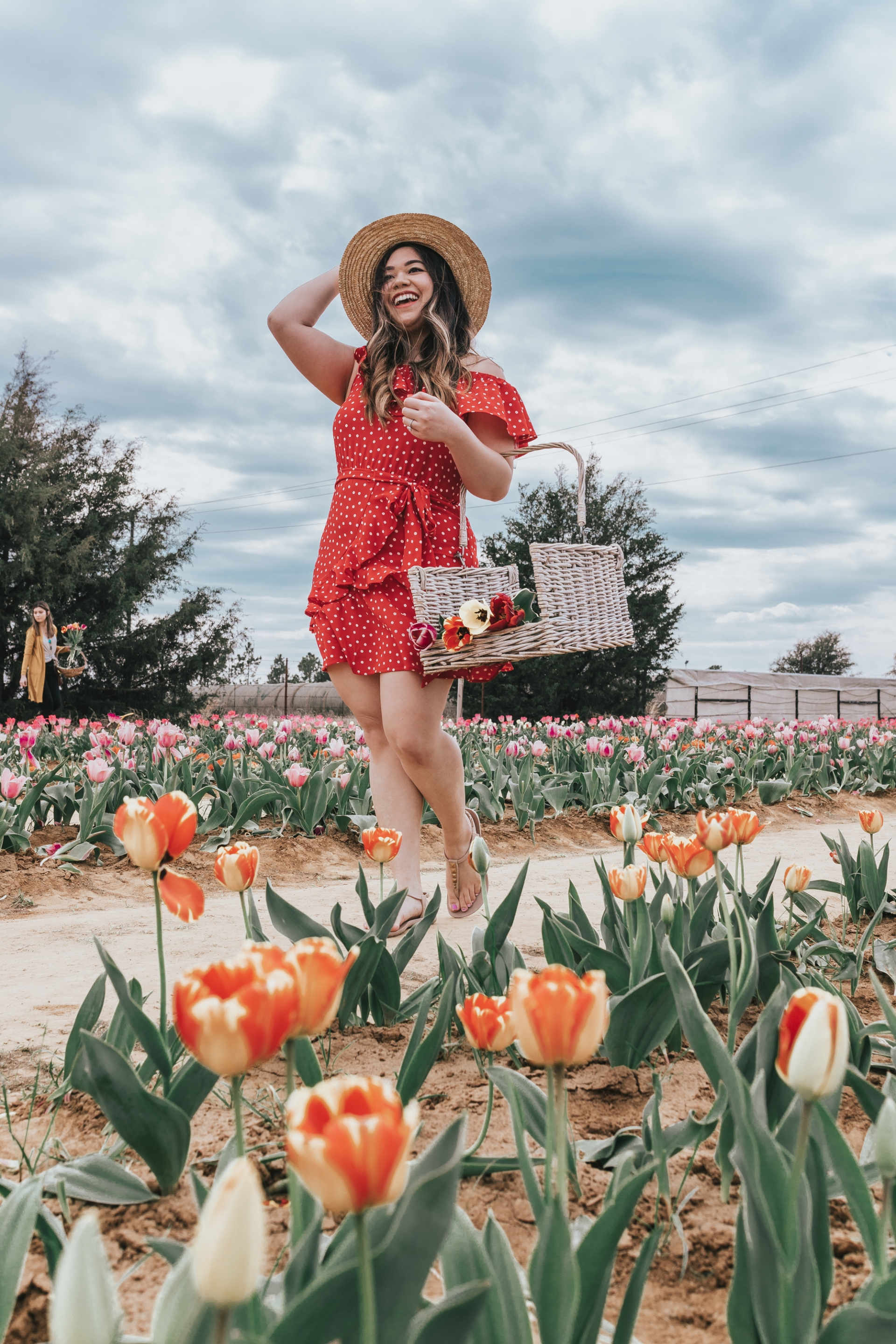 Texas Tulips Farm Boohoo Speechless Dresses Red Polka Dot Ruffle Wrap Dress Lack of Color Straw Hat Ipanema T-Strap Sandals