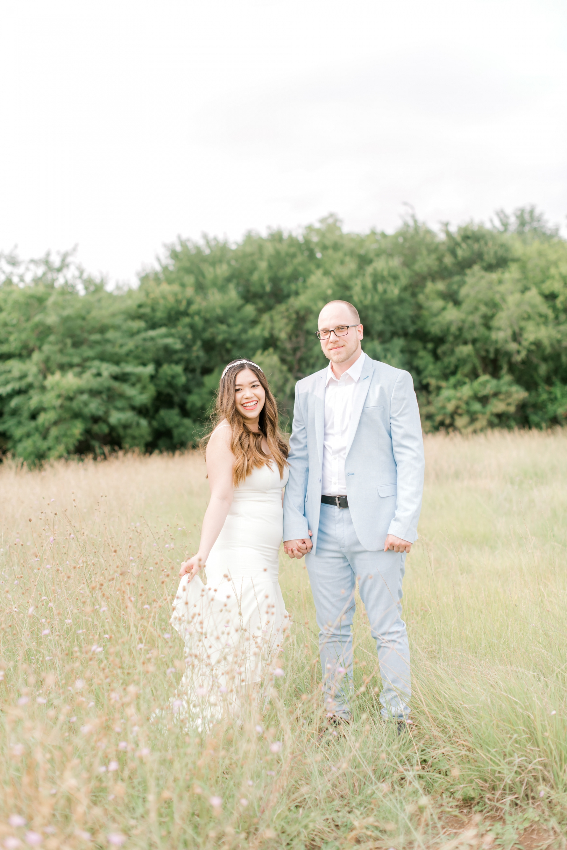 David's Bridal Engagement Dress Little White Dress Affordable Wedding Dress Under $350 Engagement Session Engagement Shoot Dreamy Engagement Photos Greenery Wildflowers Nature Engagement Pictures Couple Goals Couple Pictures Couple Shoot Blue by Betsy Johnson Heels Pearl Floral Appliqués Celestial Star Bridal Headband Baby Blue Tuxedo Light Blue Suit Men's