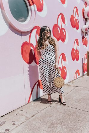 Polka Dot Jumpsuit The Pink Lily Boutique Amazing Moments Jumpsuit Nordstrom Sam Edelman Yaro Ankle Strap Sandals Black Heels Cult Gaia Dupe Circle Bamboo Bag Round Bamboo Bag Colourpop Bumble Matte Lipstick Round Sunglasses Retro Sunglasses Amazon Finds