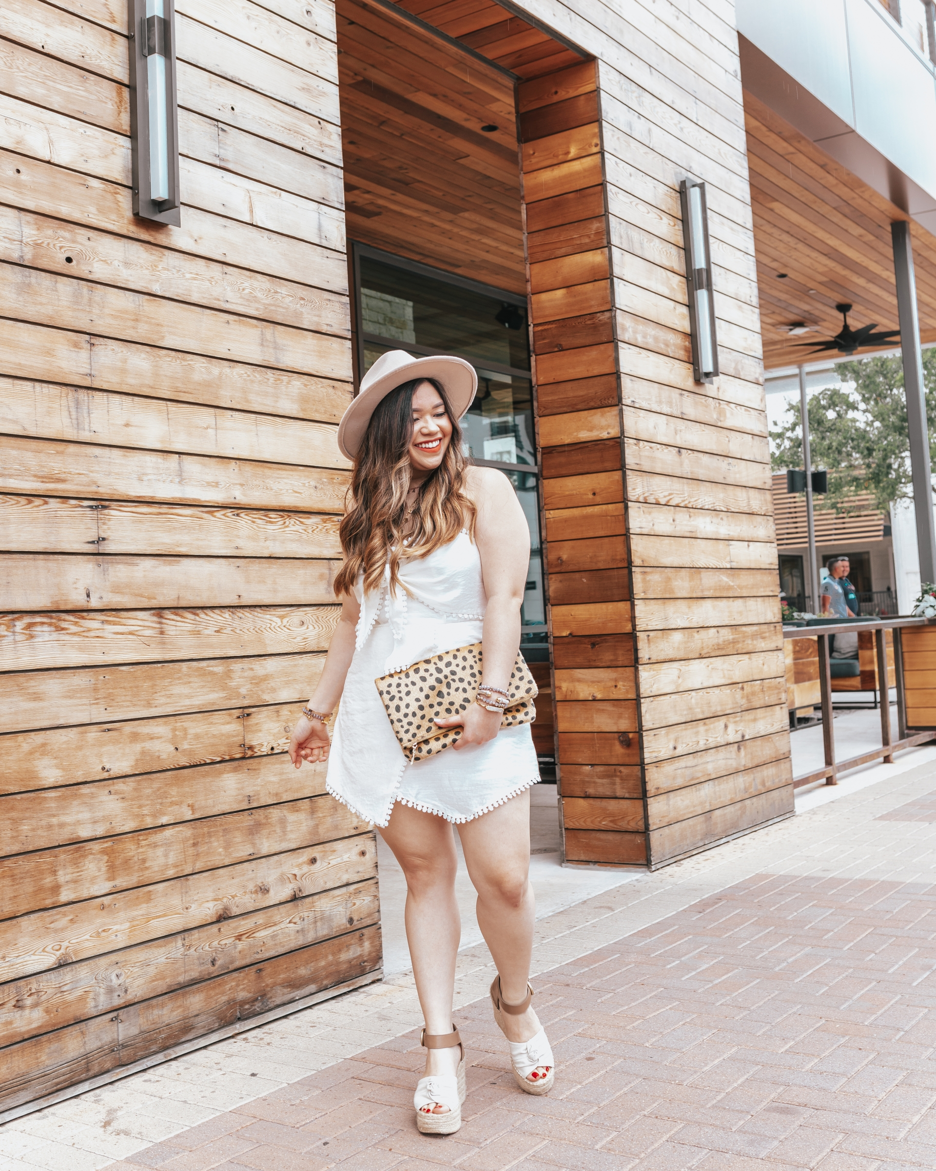 White After Labor Day White Romper Shein Red Dress Boutique Pom Pom Asymmetrical Faux Wrap Skirt Skort Tube Romper Marc Fisher Espadrilles Fedora Hat Lack of Color Hat Dupe Leopard Clutch Leopard Print Clutch Choker Name Necklace Personalized